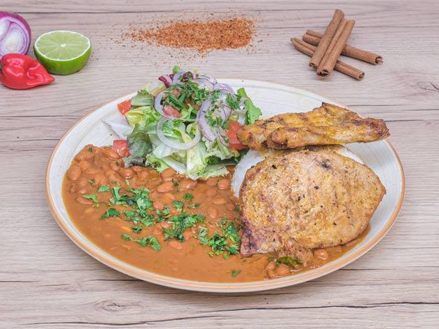 arroz con menestra y cerdo el manaba